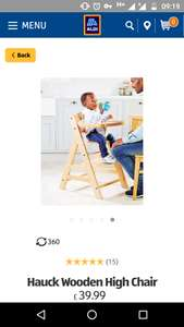 Wooden Highchair Hauck Gamma + £39.99 @ Aldi + Free standard delivery