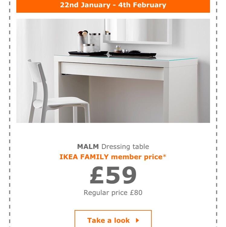 Ikea malm dressing table £59.00 (regular price £80.00)