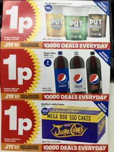 Three New JTF 1 Penny Deals on Pot Noodles, Pepsi and 100 Jaffa Cakes -  minimum spend of £5