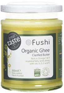 Fushi Grass Fed Ghee Clarified Butter 300ml, Organic Hand Churned £8.96  (Prime) / £12.95 (non Prime) at Amazon