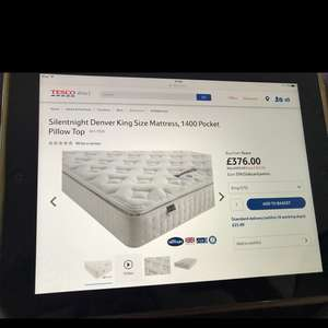 Silent night king size mattress - 1400 Pocket Pillow Top - £401 delivered @ Tesco