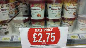 Häagen-Dazs ice cream reduce 50% from £5.50 to £2.75 at Budgens