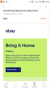 £15 off £75 Spend at eBay (account specific)