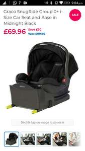 Graco SnugRide Group 0+ i-Size Car Seat and Base in Midnight Black £69.96 @ Toys r us