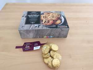Tesco 'free from' gold chocolate coins - 1p instore