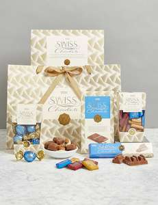 Taste of Switzerland Gift Bag was £25 now £20 / Be Mine Gift Bag with Free Chocolates £25 / Large Velvet Heart Box of Chocolates £25 with Free Nominated Day or Standard Delivery @ M&S (Free Del wys £20 on Selected Hampers / Valentines)