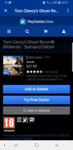 Ghost Recon wildlands ps4 on PSN for £22