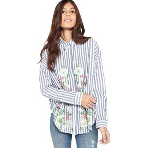 Miss Selfridge - Embroidered stripe split shirt Now £3.00 Was £32.00 at Debenhams (free delivery)