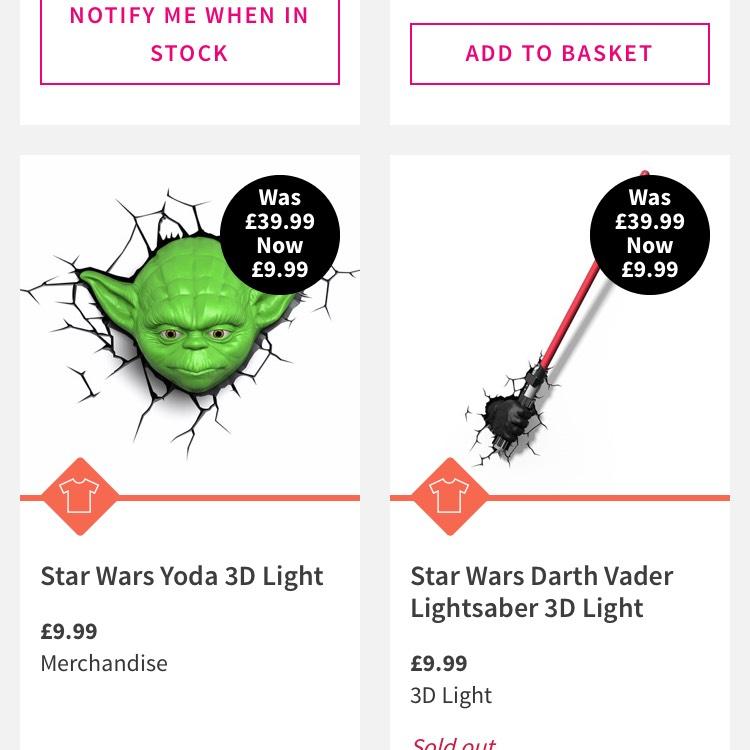 Star Wars 3D lights £9.99 @ HMV