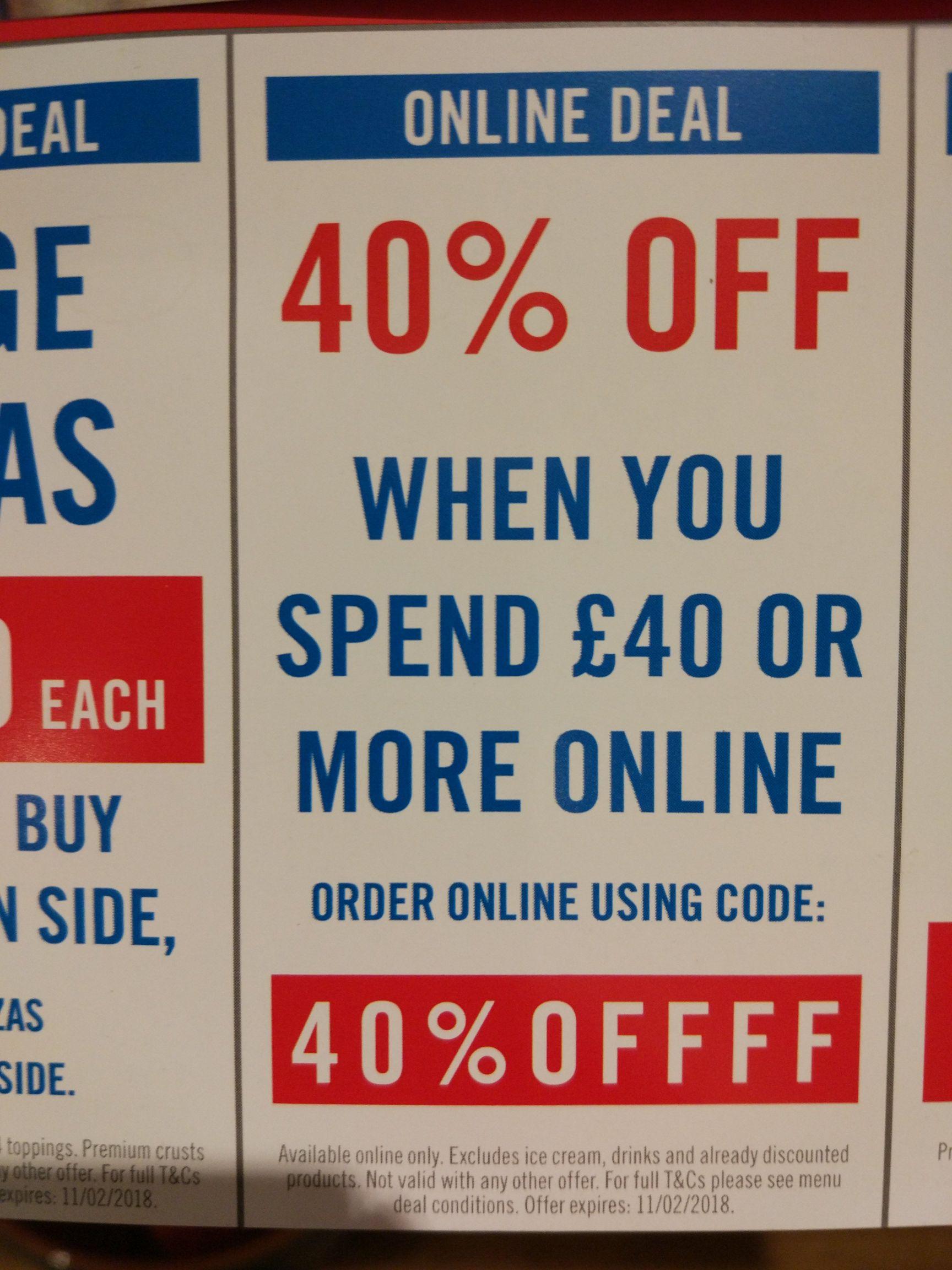 Dominos Pizza 40% £40 spend