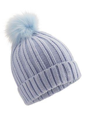 Miss Selfridge - Blue fur pom hat £2 - Free C&C w/ Code @ Debenhams