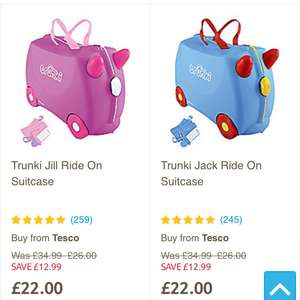 Trunki ride on suitcase pink or blue £22 @ Tesco