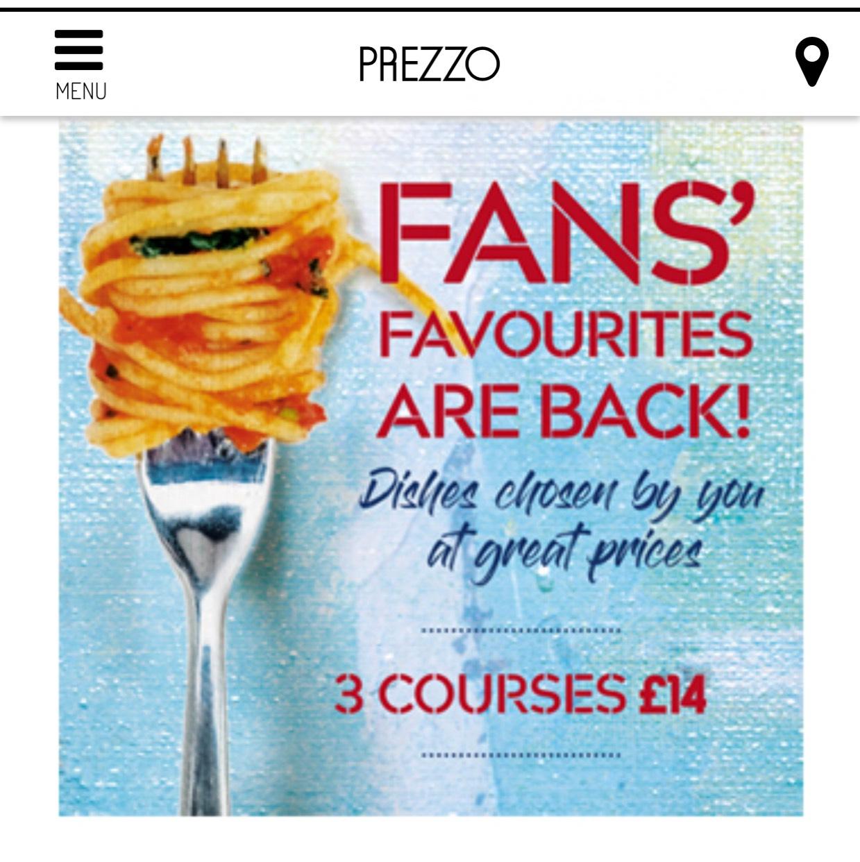 Prezzo 3 courses £14 discount offer