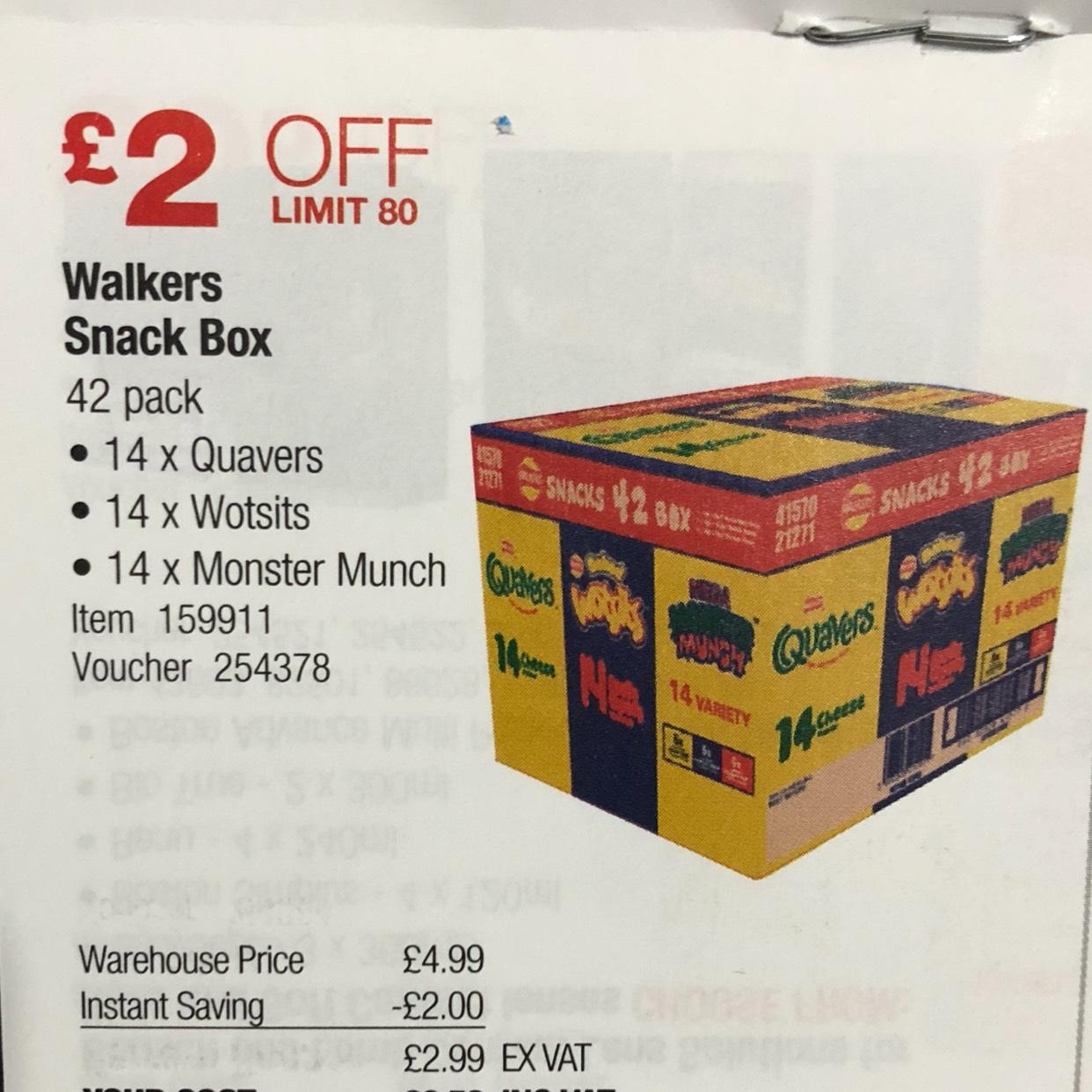 Walkers Snack Box (42 Packs) £3.58 @ Costco