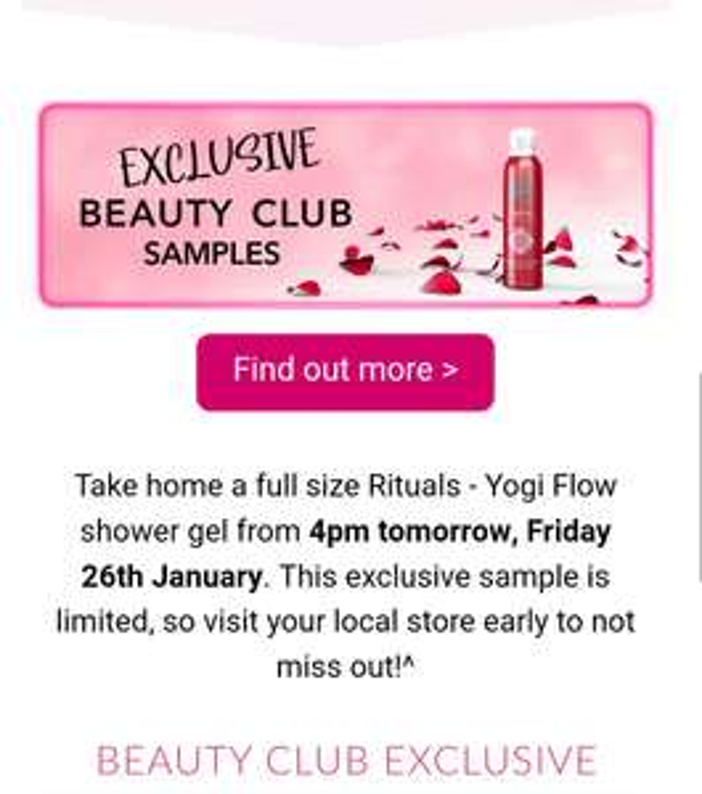 Free full size Rituals foaming shower gel for Debenhams beauty club members