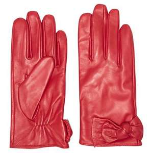 Dorothy Perkins Genuine Leather Glove (Red/Black) - Free Shipping and C&C £8 @ Debenhams