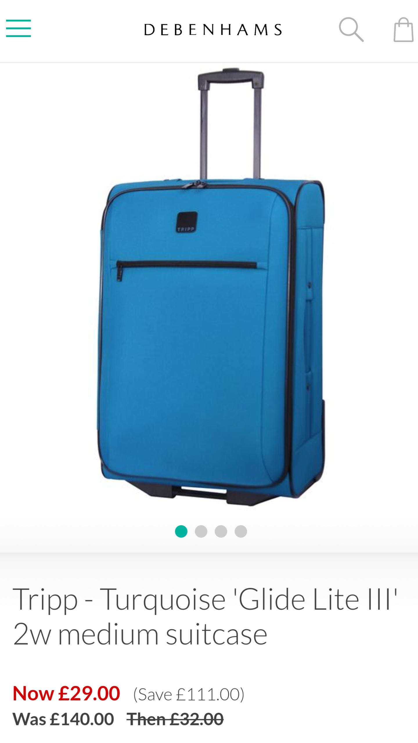Tripp-Turquoise 'Glide Lite III' 2w medium suitcase - Debenhams - £29