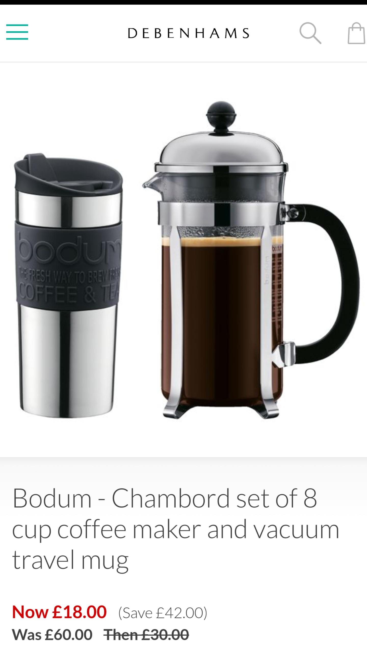 Bodum-Chambord set of 8 cup coffee maker and vacuum travel mug - Debenhams - £18