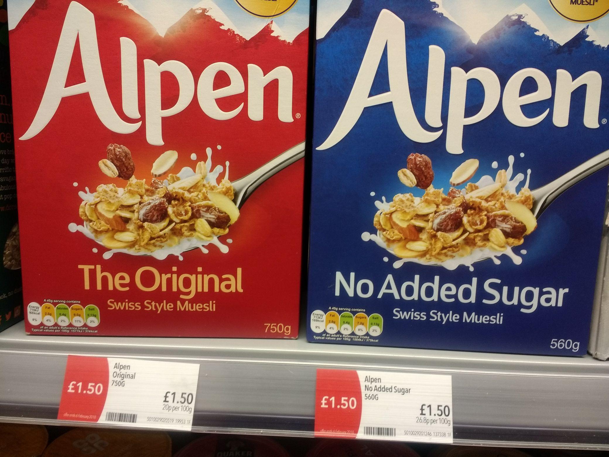 Alpen original 750g, no added sugar 560g £1.50 at co-op