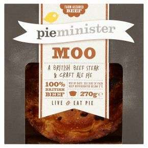 Who ate all the pies? Pieminister Moo Pie270g £3.70 - £2.26 each if you buy 2 and opt for PYO at Waitrose