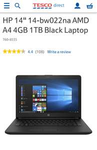 "HP 14"" 14-bw022na AMD A4 4GB 1TB Black Laptop £179 with code TDX-PHJ4  at Tesco Direct"