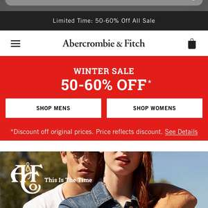 50-60% off Abercrombie and Fitch
