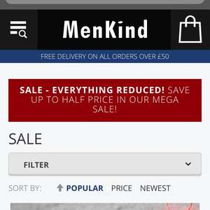 Up to 50% off in mega sale  Some good stuff @ Menkind