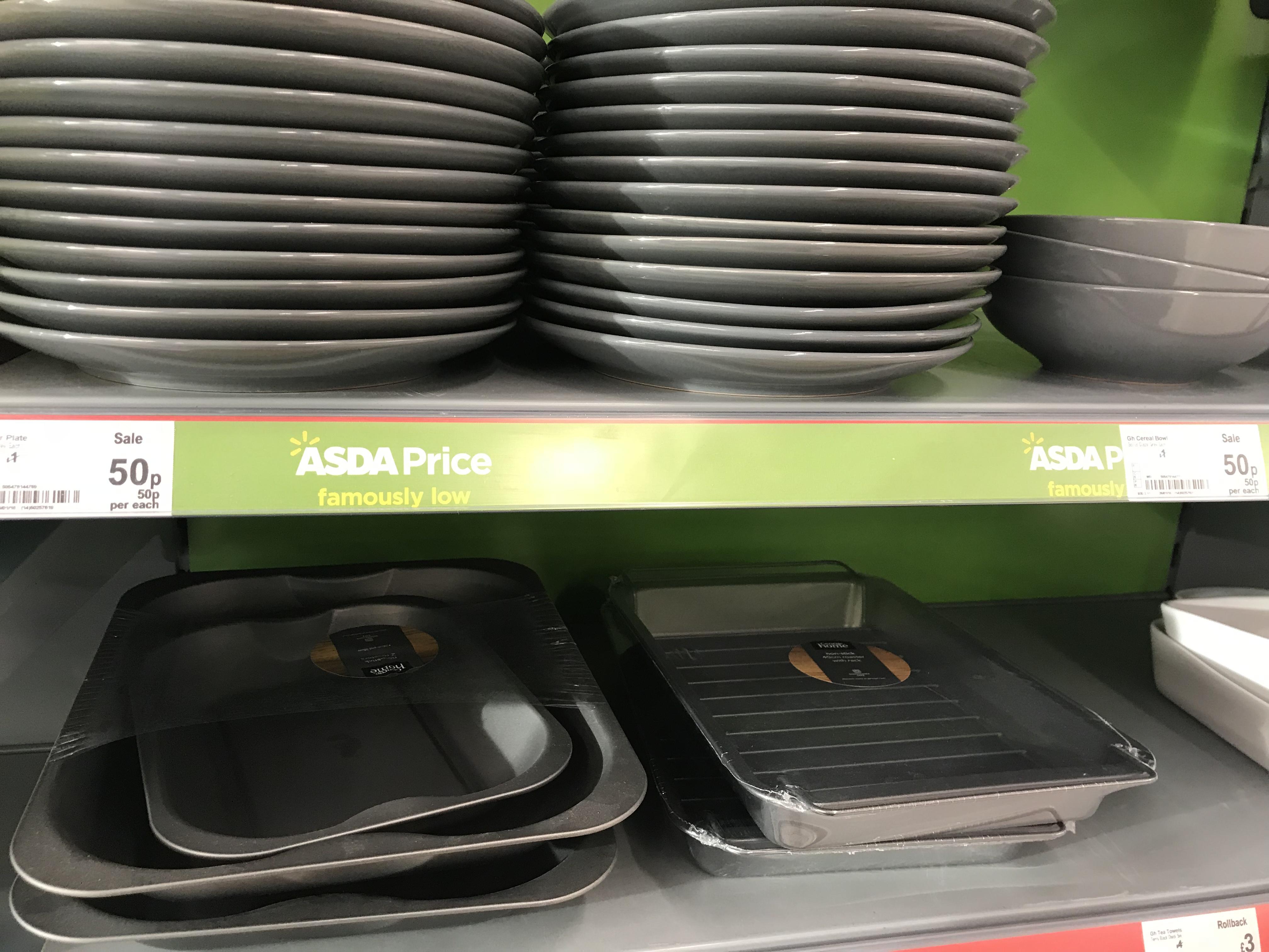Grey dinner plates & bowls 50p at Asda instore