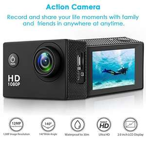 HaWacha Action Camera , 12MP 1080P 2 Inch LCD Screen , Waterproof Sports Cam £21.99 Sold by HaWacha and Fulfilled by Amazon