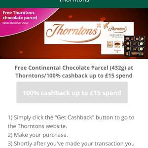 Thorntons 100% Cashback on £15 Spend - New accounts - TopCashBack