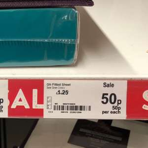 Asda George Instore - Home Fitted Sheet Sage Green Colour Reduced to Clear Single 50p, Double 60p & King Size 70p, many other bedsheets, duvets, rugs, mats are reduced to clear as well