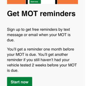 Free MOT Reminders from DVLA
