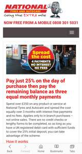 NATIONAL TYRES PAYMENT ASSIST : spread the cost of any work being done on your car over £250.