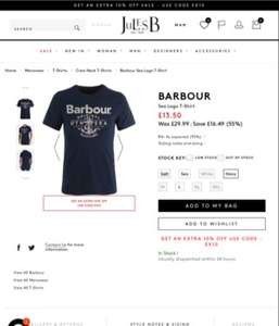 Jules B have Barbour t shirt reduced from £29.99 to £13.50 now £12.15 with code (free C&C)