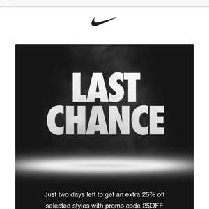 Nike up to 50%off selected items (use code 25OFF) to get an extra 25off
