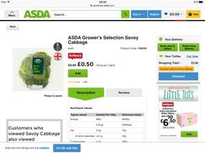 Asda Savoy cabbage only 50p instore and online