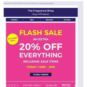 Flash sale 12.00pm-2.00pm in all Fragrance Shop branches