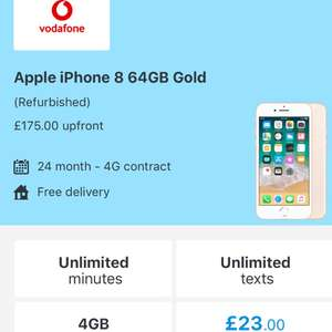 iPhone 8 (refurbished) - £175 up front + £23pm x 24 = £727 total cost - Mobiles.co.uk