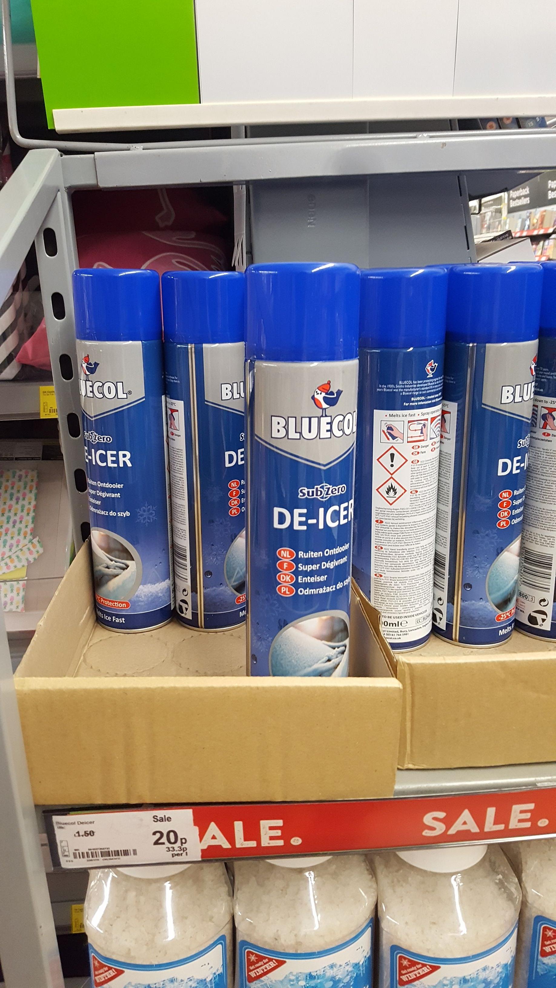 Bluecol De-Icer 600ml for 20p @Asda Instore (Weymouth)