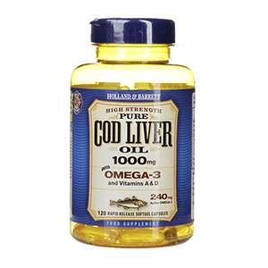 Holland & Barrett 120 Cod Liver Oil Tablets 1000mg - £5.49 @ Holland and Barrett (95p C+C / £2.99 delivery)