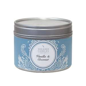 Shearer Candles Vanilla and Coconut Small Scented Silver Tin Candle - White £4.00 Prime (£6.99 non Prime) at Amazon
