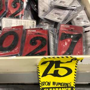 Iron door numbers now only 25 pence at Homebase in Guildford.