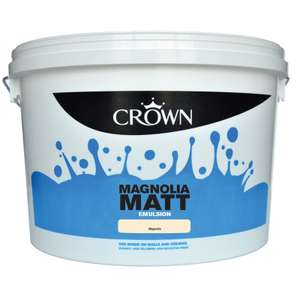 Crown 10 litres of matt emulsion magnolia or white,£10 in store @ homebase