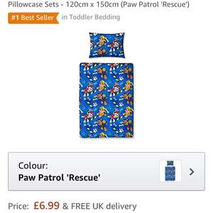 Children's Cot Bed / Junior / Toddler Bed Duvet Cover and Pillowcase Sets - 120cm x 150cm (Paw Patrol 'Rescue') £6.99 delivered @ Amazon Sold by The Bedding Den