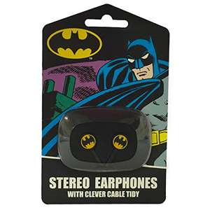 DC Comics Batman Ear Bud Earphones With Soft Touch Cable Tidy, £2.25 Add-On / Min Spend £20 @ Amazon (Also, Free Delivery/3rd Party Seller Options, Superman, Wonder Woman, Hello Kitty Varieties Too)