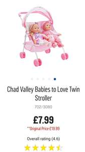 Chad Valley Babies to Love Twin Stroller - Argos - £7.99