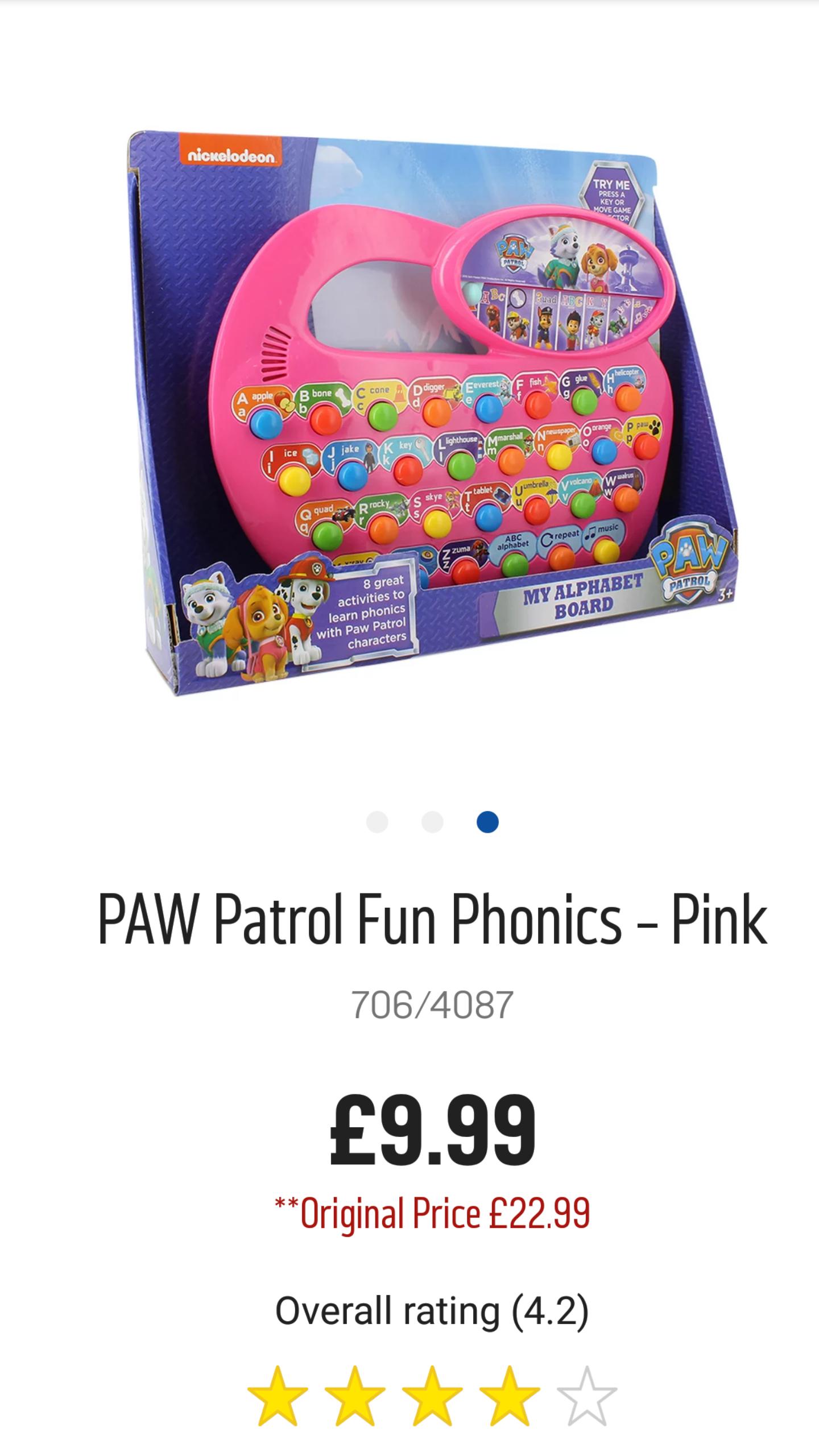 PAW Patrol Fun Phonics - Pink - Argos - £9.99