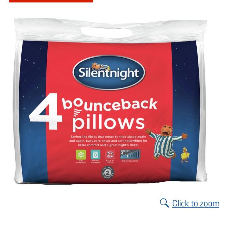 Silent Night Bounceback pillows- buy 8 for £22.50 @ Argos