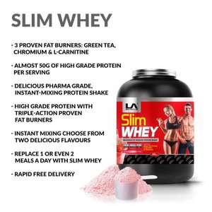 LA Muscle Slim Whey 908g £9.99 (Prime / £14.74 non Prime) But auto applied offer of 30% of two items so 1.8kg for £13.99 - Sold by The Official LA Muscle Shop and Fulfilled by Amazon.