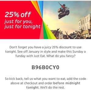 25% off JustEat Today only (Card Payments)